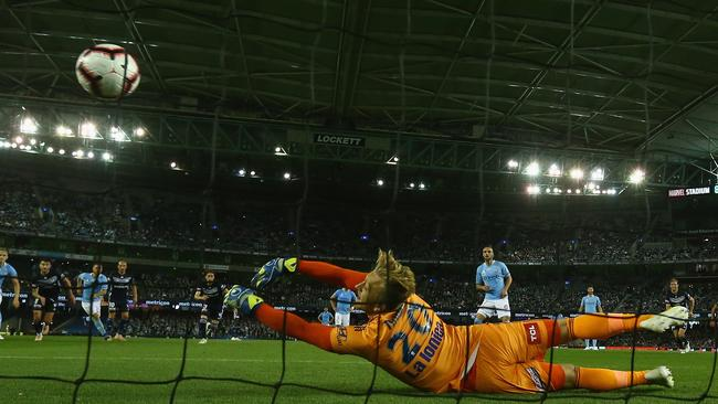 Lawrence Thomas saved the initial penalty kick. Picture: Getty Images