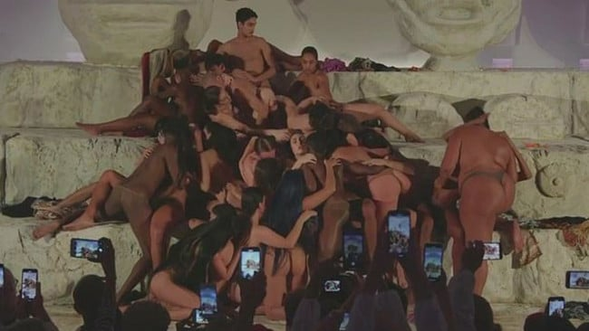 Lourdes Leon (centre, middle) participated in a simulated orgy at Art Basel in Miami. Picture: Instagram