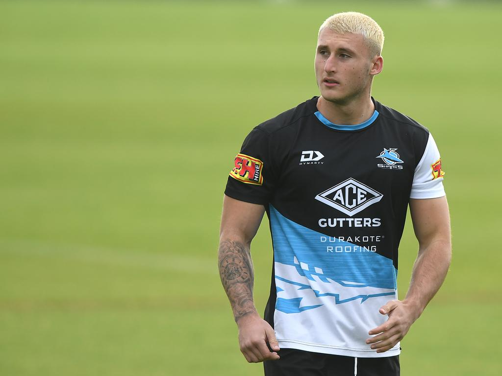 Bronson Xerri of the Sharks during an NRL training session in Sydney, Wednesday, May 20, 2020. (AAP Image/Joel Carrett) NO ARCHIVING