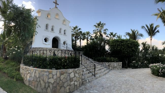 The resort chapel where Stefanovic and Yarbrough are expected to marry. Picture: Diimex