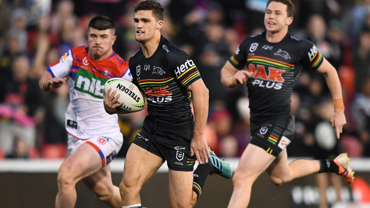Nathan Cleary of the Panthers scores against the Knights