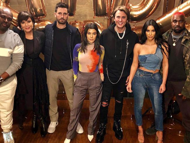Ex appeal! Corey Gamble, Kris Jenner, exes Scott Disick and Kourtney Kardashian, Jonathon Cheban, Kim Kardashian and Kanye West at Nobu Malibu. Picture: Instagram