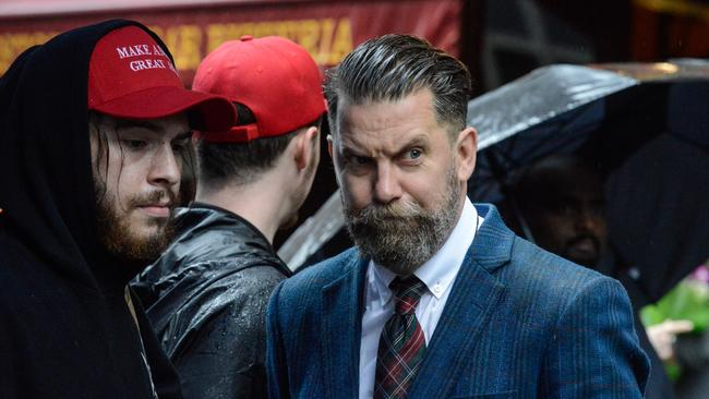 Gavin McInnes taking part in an alt-right protest of Muslim activist Linda Sarsour in New York in April. Picture: Stephanie Keith/Getty Images/AFP