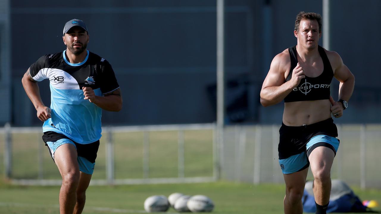 Cronulla Sharks recruits Shaun Johnson and Josh Morris at Sharks training. Picture: Toby Zerna