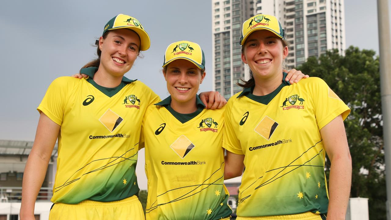 Georgia Wareham (right) shares a house with Tayla Vlaeminck (left) and Sophie Molineux (middle).