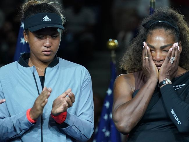 US Open Womens Single champion Naomi Osaka of Japan (L) with Serena Williams of the US. Picture: AFP