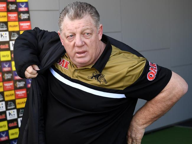 Phil Gould departs following a press conference.