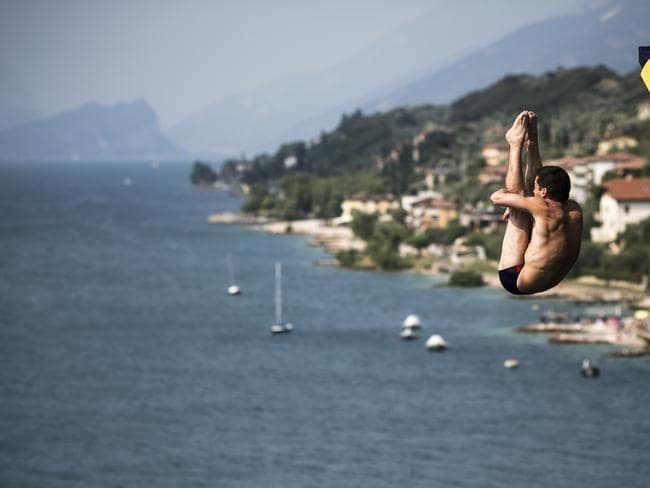 Suspended midair in Italy. Picture: Red Bull.