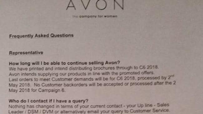 Avon representatives were sent this letter by the company.