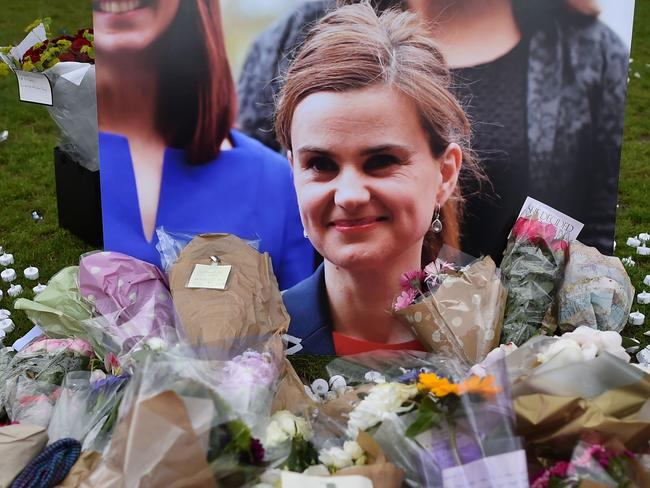Tribute in remembrance of slain UK MP Jo Cox, wife of Brendan Cox who is now accused of sexual misconduct. Picture: AFP