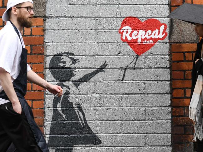 A pro-choice mural based on a work by Banksy urging a 'Yes' vote in the referendum to repeal the eighth amendment of the Irish constitution. Picture: AFP