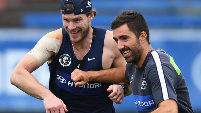Bryce Gibbs in action during a Carlton pre-season training session last week. Picture: Getty