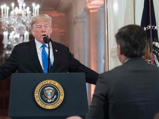 Donald Trump and Jim Acosta during that very heated press conference at the White House. Picture: AFP