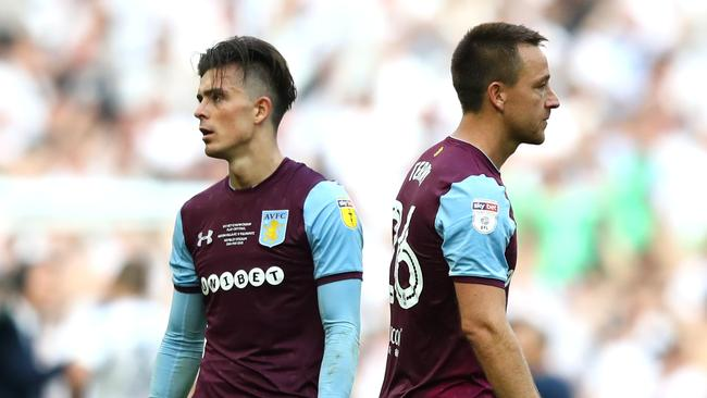Jack Grealish and John Terry of Aston Villa look dejected following their Sky Bet Championship Play Off Final loss.