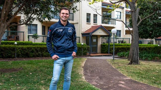 Happy homebuyer Tom Arciuli, 36, outside his home in Allen Estate, Leichhardt, Sydney. Picture: Monique Harmer