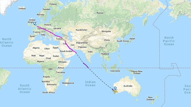 The flight path for Qantas flight QFA9 from Perth to London before the route change.