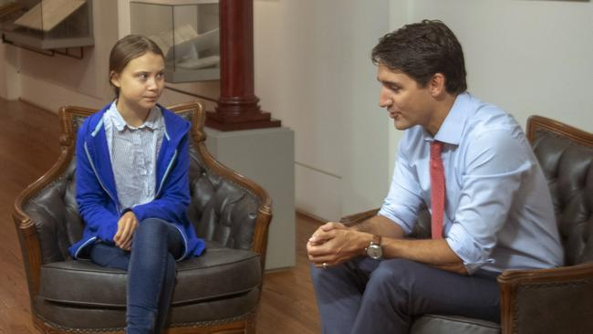 Canadian PM Justin Trudeau met Greta Thunberg on Friday. Picture: Ryan Remiorz/The Canadian Press