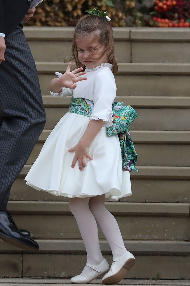 Princess Charlotte takes a tumble at Princess Eugenie's wedding
