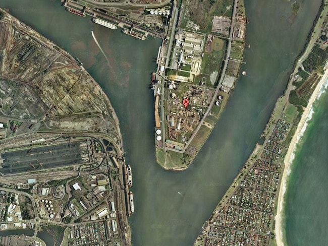 The Orica Chemical plant (centre) shows its proximity to Stockton (bottom right) in Newcastle. Picture: Google Earth