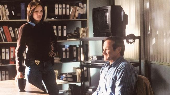 "Hilary Swank and Robin Williams in a scene from the 2002 film ""Insomnia""."