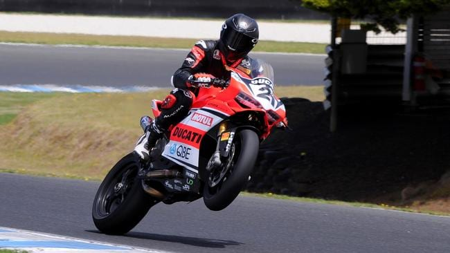 Troy Bayliss, pictured during testing, will start from the front row in his comeback race. Pic: Russell Colvin.
