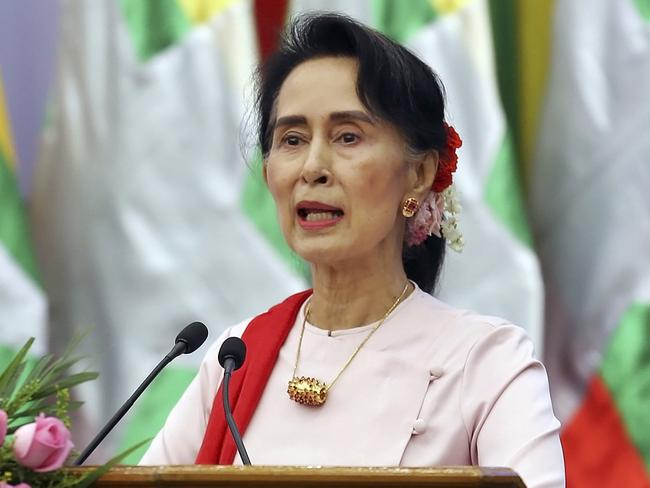 Myanmar's State Counsellor Aung San Suu Kyi is under pressure over the treatment of Rohingya Muslims. Picture: Aung Shine Oo/AP