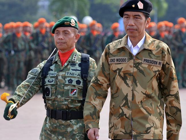 Indonesian President Joko Widodo inspecting elite military units of the Indonesian armed forces in Cilangkap, on the outskirts of Jakarta. Picture: AFP