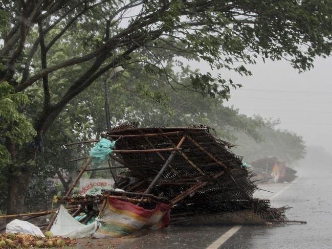 Collapsed street stores on the outskirts of Puri, where buildings, electricity poles and trees were torn down. Picture: AP Photo