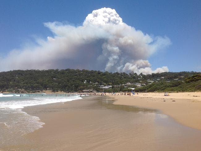 View of the bushfire heading towards Wye River from Lorne beach Picture Chris Bradley