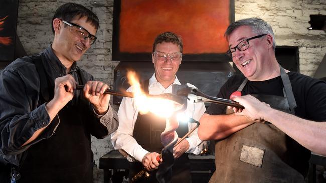 Blacksmiths Estebaan Dante, Christian Groves and Bruce Rasmussen. Picture: Kylie Else