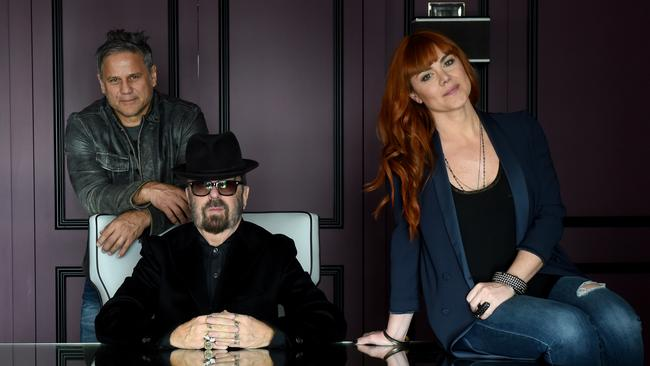 Jon Stevens, Dave Stewart and Vanessa Amorosi are making music together. Picture: Kylie Else