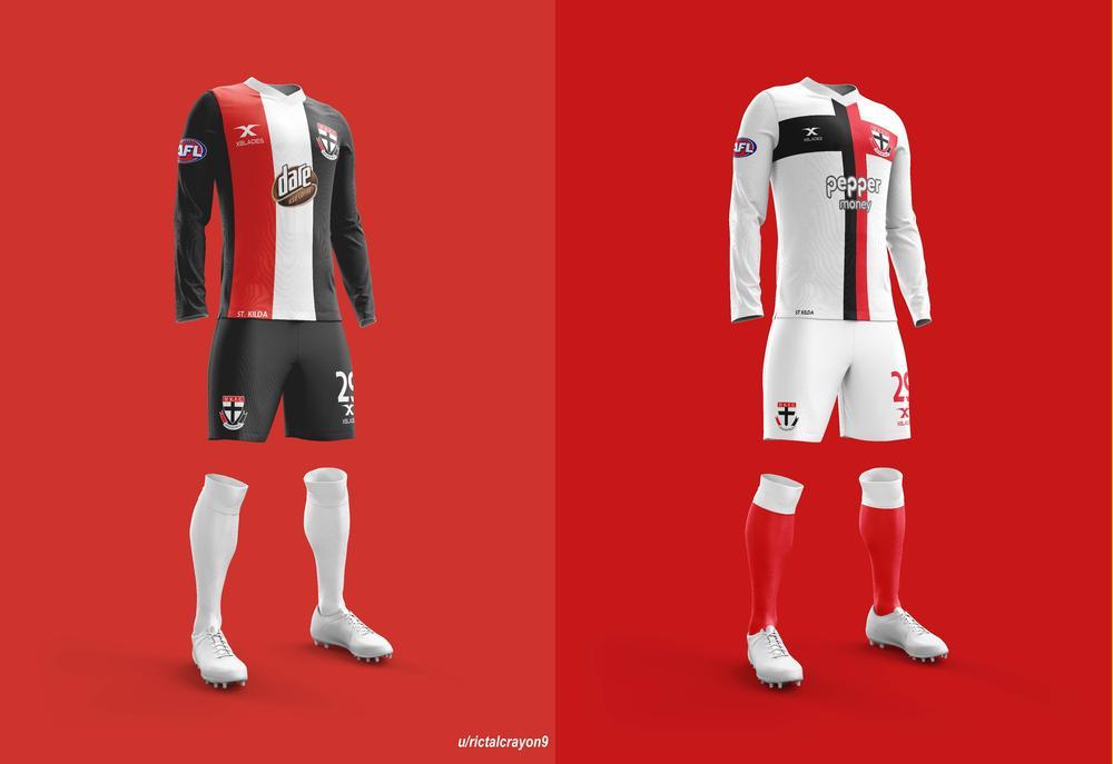 St Kilda's home and away/clash jerseys.