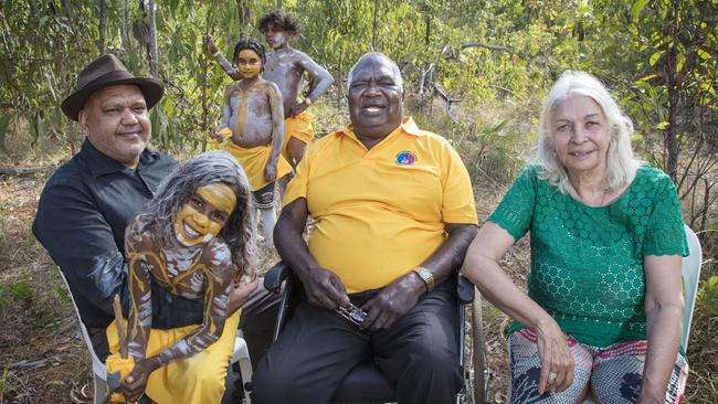Senior indigenous figures Noel Pearson, Galarrwuy Yunupingu and Marcia Langton at the Garma Festival in August. Picture: Melanie Faith Dove