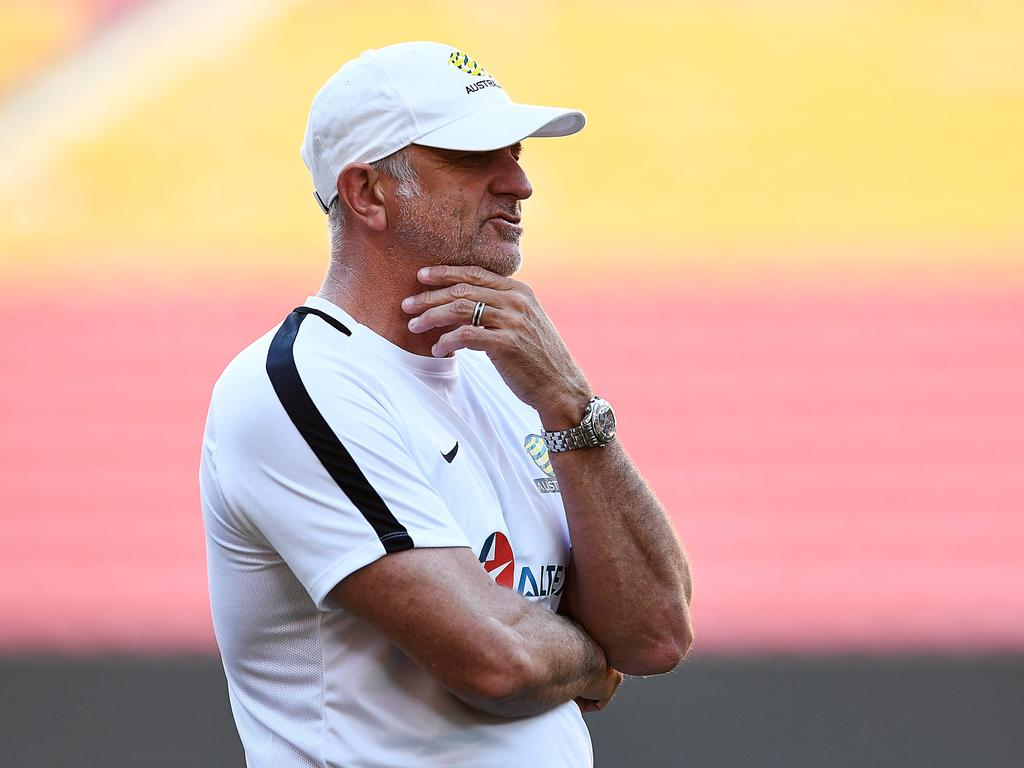 Head coach Graham Arnold looks on during an Australian Socceroos training session at Suncorp Stadium in Brisbane, Friday, November 16, 2018. Australia will play against South Korea in a friendly on Saturday. (AAP Image/Albert Perez) NO ARCHIVING
