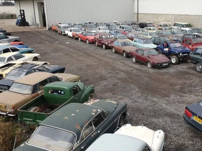 A huge car collection has gone up for auction after the vintage vehicles were discovered in a barn.