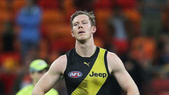 A dejected Jack Riewoldt after the siren. Photo: Phil Hillyard