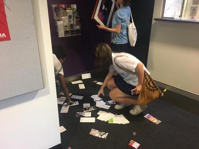 Students protesting climate change inaction at Anthony Albanese's office. Picture: Adella Beaini