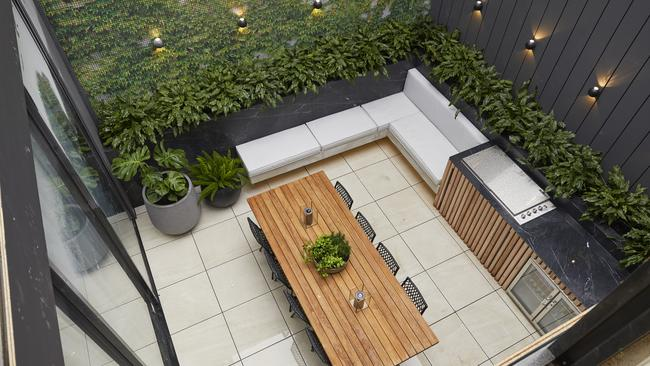 Jesse and Mel's courtyard was described as being 'spectacular', ticking all those functionality boxes in terms of layout and floor plan. Picture: Channel 9/ The Block