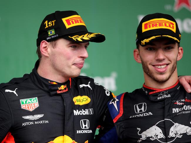 Max Verstappen and Pierre Gasly were on top of the world in Sao Paulo.