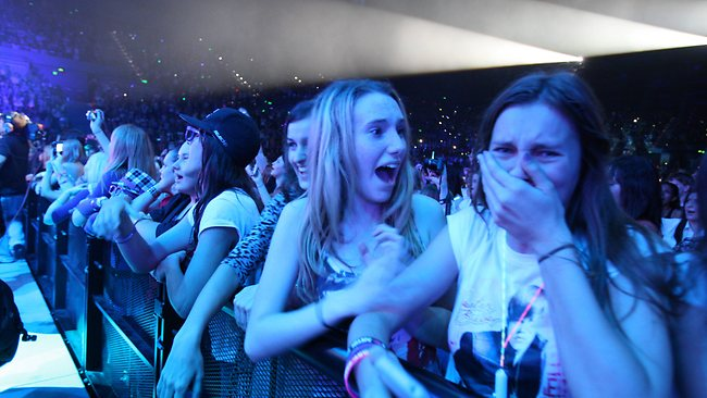 Bieber fans swoon at their idol's every move. You won't see this kind of behaviour at a Dylan concert/ Picture: Adam Smith /  <i>The Courier-Mail</i>
