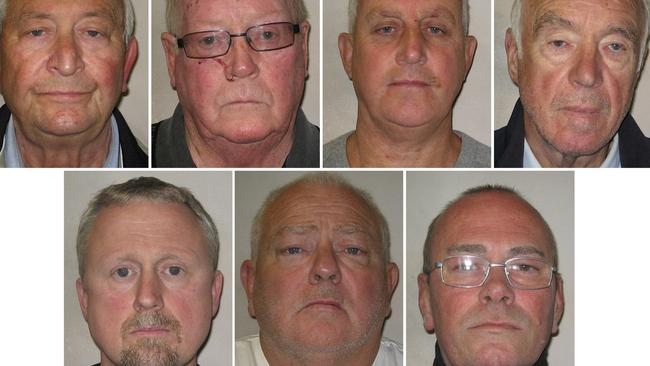 Terry Perkins, top left, John Collins, Daniel Jones and Brian Reader all pleaded guilty to conspiracy to commit burglary over the Hatton Garden Safety Deposit raid in April 2015. Hugh Doyle, bottom left, was found guilty of concealing, converting or transferring criminal property. William Lincoln and Carl Wood, were convicted of conspiracy to commit burglary, and conspiracy to conceal, convert or transfer criminal property. Picture: MPS/AFP