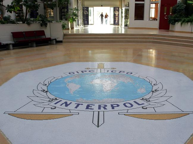The entrance hall of Interpol's headquarters in Lyon, central France. Picture: AP
