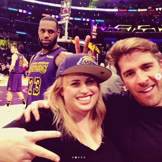 LeBron James photobombs Rebel Wilson's courtside selfie with Hugh Sheridan. Picture: Instagram.