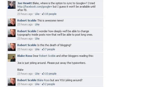 Facebook is not releasing an option to sync to Google +. Or are they...? Picture: Facebook