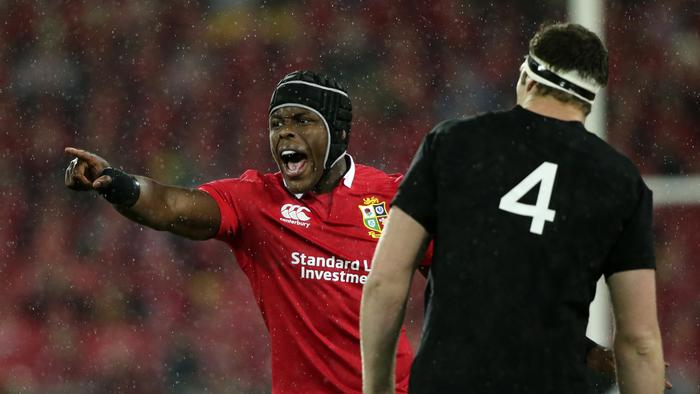 Lions star Maro Itoje barks instructions during the second Test in Wellington.