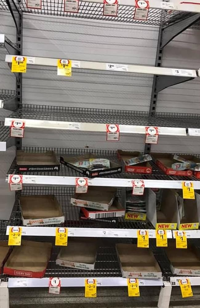 Empty shelves at Coles in the Perth suburb of Claremont after a panic buying session swept through the store on Saturday.