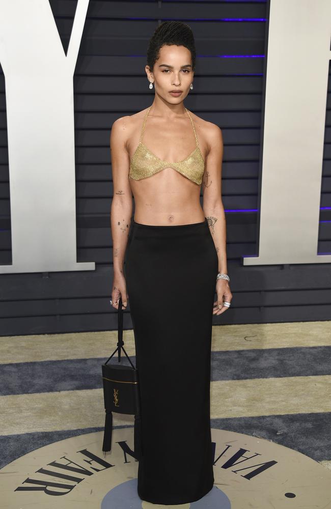 Zoe Kravitz rocks a typically unique look at the Vanity Fair Oscar Party.