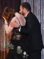 Emma Stone accepts Outstanding Performance by a Female Actor in a Leading Role for 'La La Land' from actor Jonah Hill onstage during The 23rd Annual Screen Actors Guild Awards. Picture: Getty