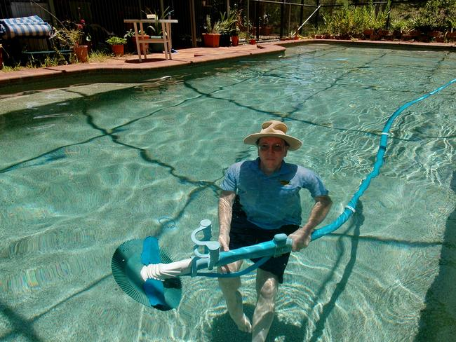 If you have a swimming pool be like Bill Brazier (above) who uses a solar-powered pump to keep his pool clean and efficient. Picture: Paul Riley.