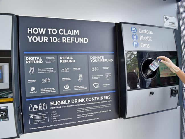 The Return and Earn scheme allows people to get a 10 cent refund on their recyclable items. Picture: Troy Snook/AAP